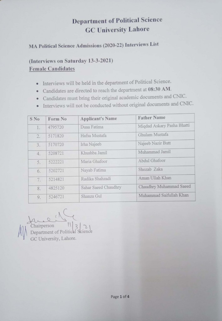1 MA Political Science Admissions (2020-2022) Interviews List