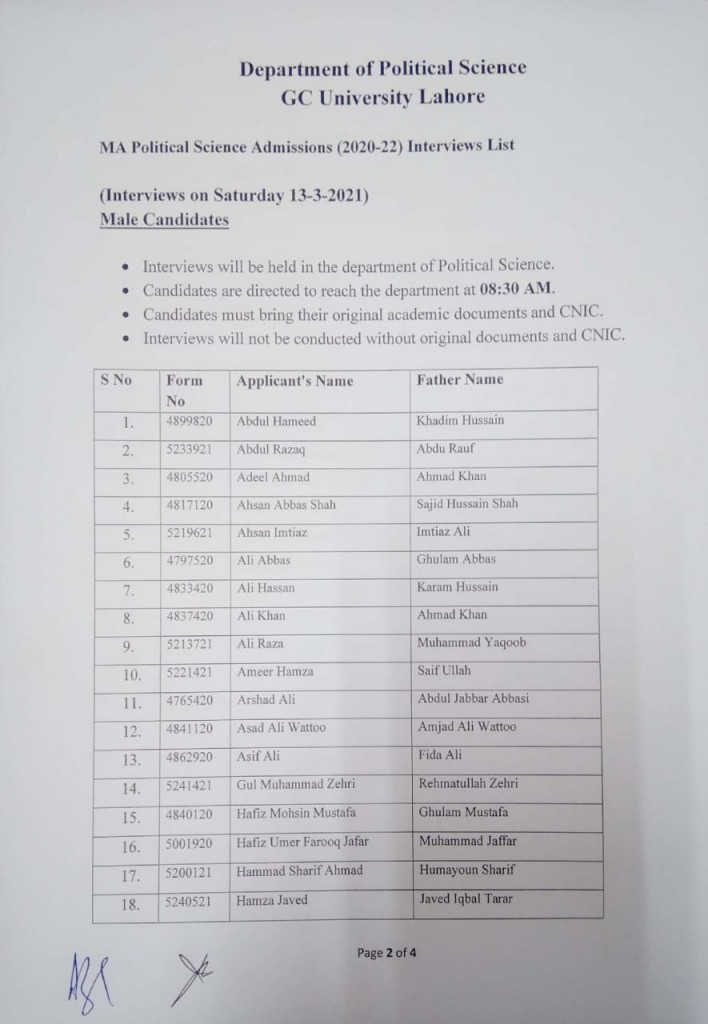 2 MA Political Science Admissions (2020-2022) Interviews List