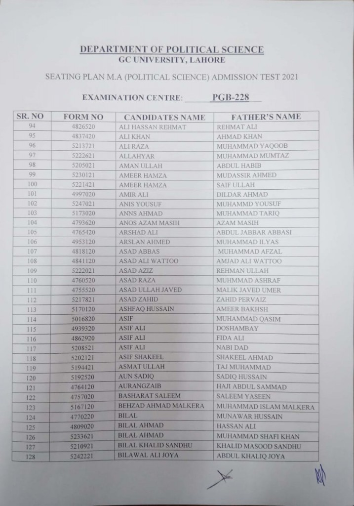 4 Seating Plan MA (Political Science) Admission Test 2021