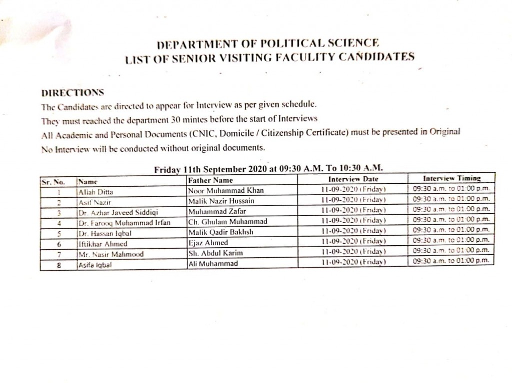 5 List of visiting faculty candidates