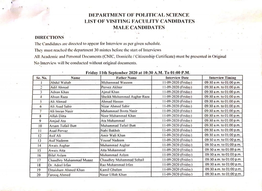 6 List of visiting faculty candidates