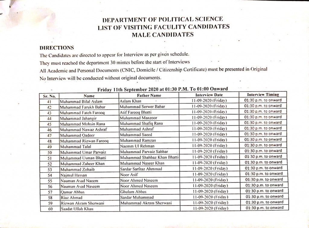 8 List of visiting faculty candidates