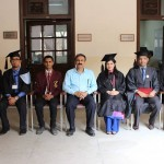 Group Photo with Rolls of Honors and Medals: From Left to Right: Momin Yar Khalid (Best Intermediate student), Dr. Khalid Manzoor Butt (Chairperson), Zille Huma (Best Female Graduate), Syed Zohaib Naqvi (Roll of Honor for Dramatics),  Bangul Khan Bugti (Academic Roll of Honor and Gold Medal)